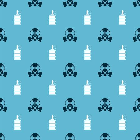 Set Gas mask and Hand grenade on seamless pattern. Vector