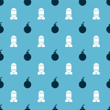 Set Bomb ready to explode and Aviation bomb on seamless pattern. Vector