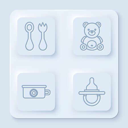 Set line Baby cutlery with fork and spoon, Teddy bear plush toy, Baby potty and Baby dummy pacifier. White square button. Vector