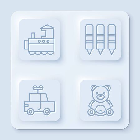 Set line Toy train, Wax crayons for drawing, Toy car and Teddy bear plush toy. White square button. Vector Illusztráció