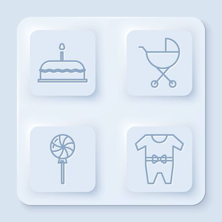 Set line Cake with burning candles, Baby stroller, Lollipop and Baby clothes. White square button. Vector Standard-Bild - 140165682