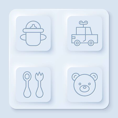 Set line Baby bottle, Toy car, Baby cutlery with fork and spoon and Teddy bear plush toy. White square button. Vector Illusztráció
