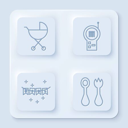 Set line Baby stroller, Baby Monitor Walkie Talkie, Carnival garland with flags and Baby cutlery with fork and spoon. White square button. Vector Standard-Bild - 140165048