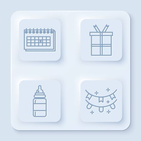 Set line Calendar, Gift box, Baby bottle and Carnival garland with flags. White square button. Vector