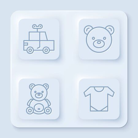Set line Toy car, Teddy bear plush toy, Teddy bear plush toy and Baby wear. White square button. Vector