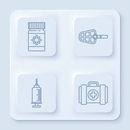 Set line Dog medicine bottle and pills, Dog muzzle, Syringe with pet vaccine and Pet first aid kit. White square button. Vector