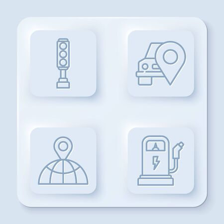 Set line Traffic light, Map pointer with taxi, Location on the globe and Electric car charging station. White square button. Vector Ilustração