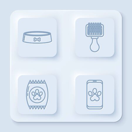 Set line Pet food bowl, Hair brush for dog and cat, Bag of food for pet and Online veterinary clinic symbol. White square button. Vector Ilustrace