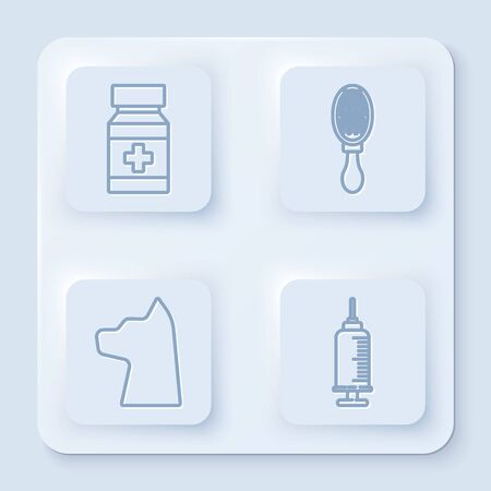 Set line Dog medicine bottle and pills, Hair brush for dog and cat, Cat and Syringe with pet vaccine. White square button. Vector Reklamní fotografie - 140155186