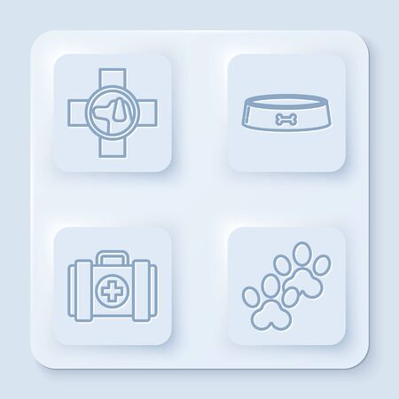 Set line Veterinary clinic symbol, Pet food bowl, Pet first aid kit and Paw print. White square button. Vector Ilustrace