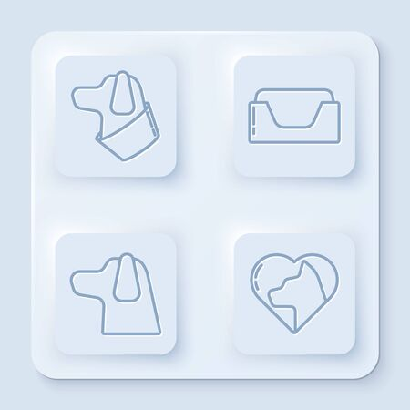 Set line Dog, Pet bed, Dog and Heart with cat. White square button. Vector Reklamní fotografie - 140165153