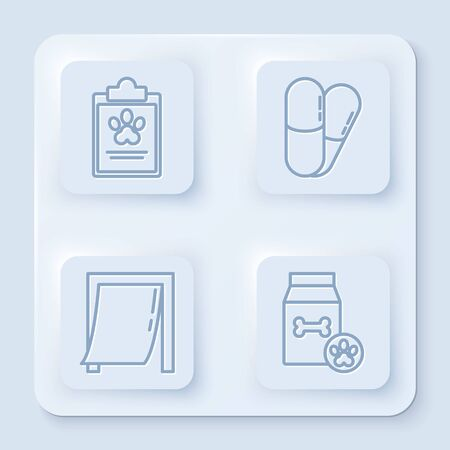 Set line Clipboard with medical clinical record pet, Dog and pills, Door for pet and Bag of food for pet. White square button. Vector Ilustrace