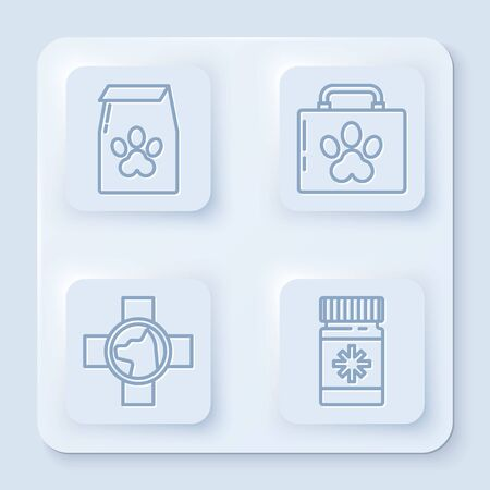 Set line Bag of food for pet, Pet first aid kit, Veterinary clinic symbol and Dog medicine bottle and pills. White square button. Vector