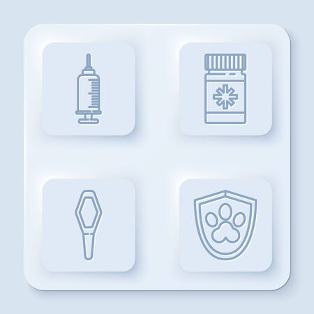 Set line Syringe with pet vaccine, Dog medicine bottle and pills, Pets vial medical and Animal health insurance. White square button. Vector Ilustrace