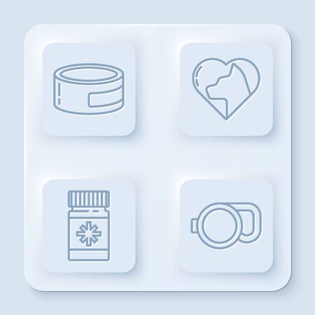 Set line Canned food, Heart with cat, Dog medicine bottle and pills and Retractable cord leash. White square button. Vector Ilustrace