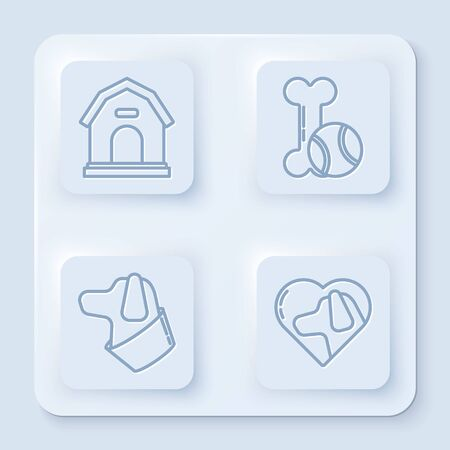 Set line Dog house, Pet toys bone rubber and ball, Dog and Heart with dog. White square button. Vector Ilustrace