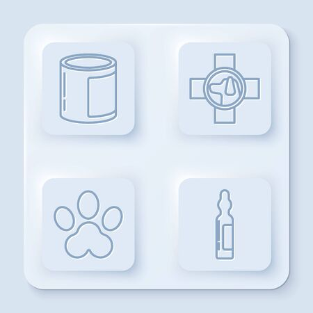 Set line Canned food, Veterinary clinic symbol, Paw print and Pets vial medical. White square button. Vector
