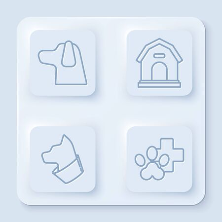 Set line Dog, Dog house, Cat and Veterinary clinic symbol. White square button. Vector Reklamní fotografie - 140165166