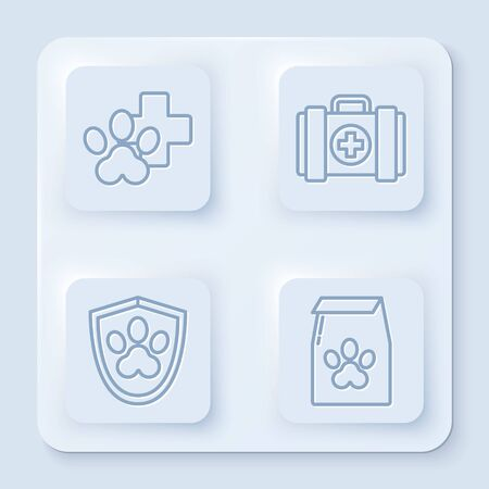 Set line Veterinary clinic symbol, Pet first aid kit, Animal health insurance and Bag of food for pet. White square button. Vector Ilustrace