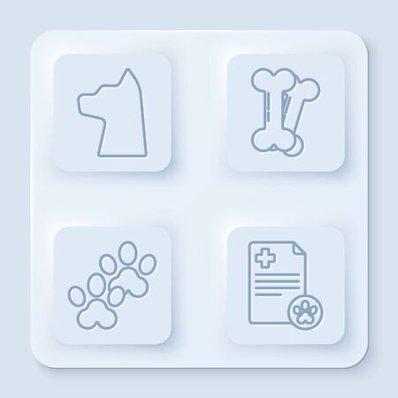 Set line Cat, Dog bone, Paw print and Clipboard with medical clinical record pet. White square button. Vector