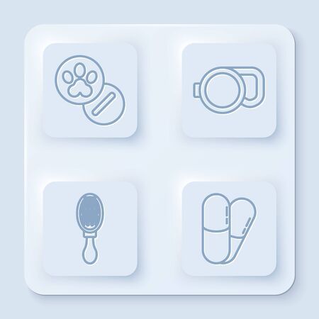 Set line Dog and pills, Retractable cord leash, Hair brush for dog and cat and Dog and pills. White square button. Vector