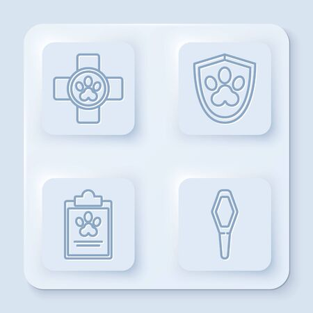Set line Veterinary clinic symbol, Animal health insurance, Clipboard with medical clinical record pet and Pets vial medical. White square button. Vector Ilustrace