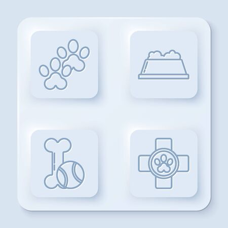 Set line Paw print, Pet food bowl, Pet toys bone rubber and ball and Veterinary clinic symbol. White square button. Vector