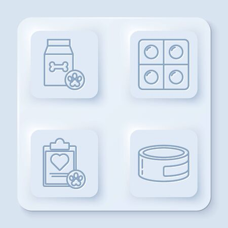 Set line Bag of food for pet, Dog and pills, Clipboard with medical clinical record pet and Canned food. White square button. Vector