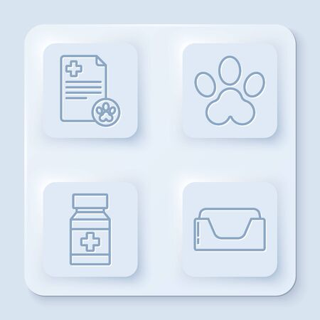 Set line Clipboard with medical clinical record pet, Paw print, Dog medicine bottle and pills and Pet bed. White square button. Vector