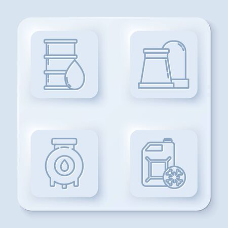 Set line Barrel oil, Oil and gas industrial factory building, Oil and gas industrial factory building and Antifreeze canister. White square button. Vector