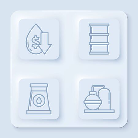 Set line Drop in crude oil price, Barrel oil, Oil and gas industrial factory building and Oil and gas industrial factory building. White square button. Vector