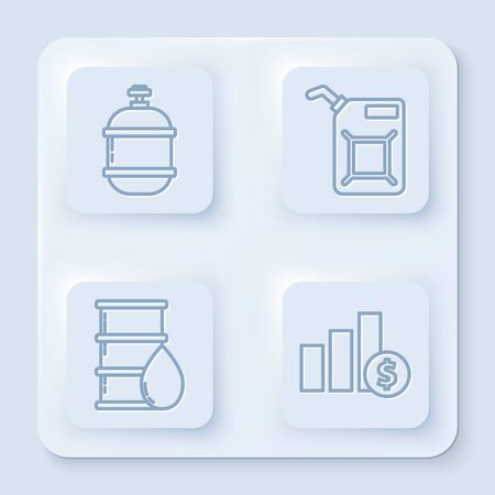 Set line Propane gas tank, Canister for gasoline, Barrel oil and Pie chart infographic and dollar. White square button. Vector Stock Illustratie
