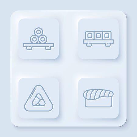 Set line Sushi on cutting board, Sushi on cutting board, Sushi and Sushi. White square button. Vector
