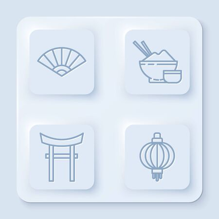 Set line Paper chinese or japanese folding fan, Rice in a bowl with chopstick, Japan Gate and Japanese paper lantern. White square button. Vector