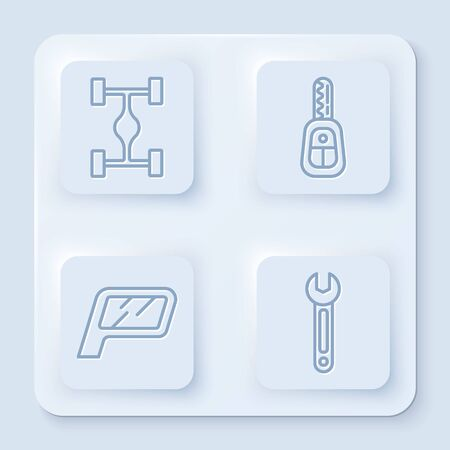 Set line Chassis car, Car key with remote, Car mirror and Wrench. White square button. Vector