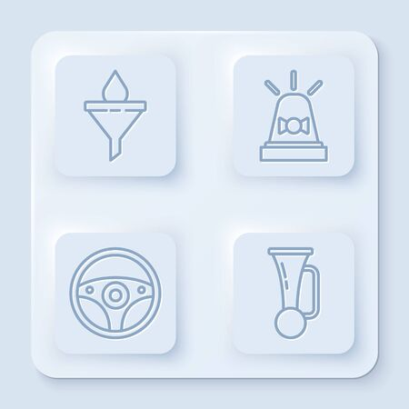 Set line Funnel or filter and motor oil drop, Flasher siren, Steering wheel and Signal horn on vehicle. White square button. Vector Illustration