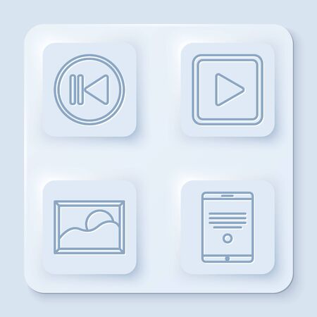 Set line Rewind, Play in square, Picture landscape and Tablet. White square button. Vector Banque d'images - 140155861