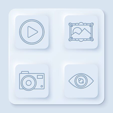 Set line Play in circle, Picture landscape, Photo camera and Eye. White square button. Vector