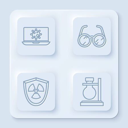 Set line Bacteria on laptop, Laboratory glasses, Radioactive in shield and Test tube flask on stand. White square button. Vector