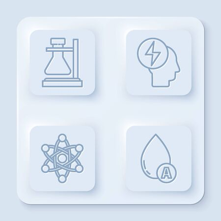 Set line Test tube flask on stand, Head and electric symbol, Atom and Water drop. White square button. Vector