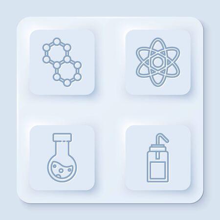 Set line Molecule, Atom, Test tube and flask chemical and Laboratory wash bottle. White square button. Vector Illusztráció