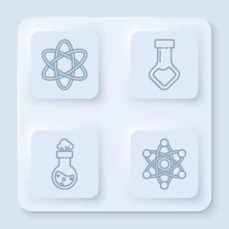 Set line Atom, Test tube and flask chemical, Test tube and flask chemical and Atom. White square button. Vector