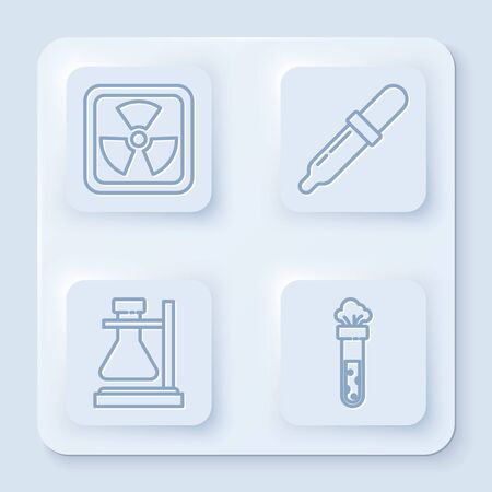 Set line Radioactive, Pipette, Test tube flask on stand and Test tube and flask chemical. White square button. Vector
