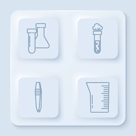 Set line Test tube and flask chemical, Test tube and flask chemical, Tweezers and Laboratory glassware or beaker. White square button. Vector