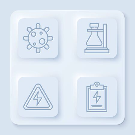 Set line Bacteria, Test tube flask on stand, High voltage sign and Laboratory clipboard with checklist. White square button. Vector
