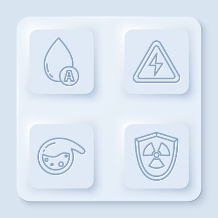 Set line Water drop, High voltage sign, Test tube and flask chemical and Radioactive in shield. White square button. Vector