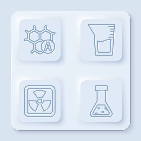 Set line Chemical formula, Laboratory glassware or beaker, Radioactive and Test tube and flask chemical. White square button. Vector