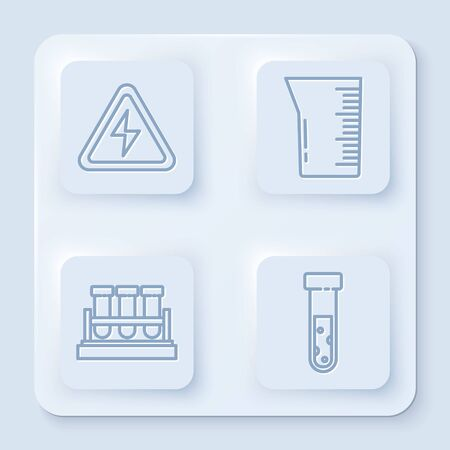 Set line High voltage sign, Laboratory glassware or beaker, Test tube and flask chemical and Test tube and flask chemical. White square button. Vector Çizim