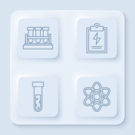 Set line Test tube and flask chemical, Laboratory clipboard with checklist, Test tube and flask chemical and Atom. White square button. Vector