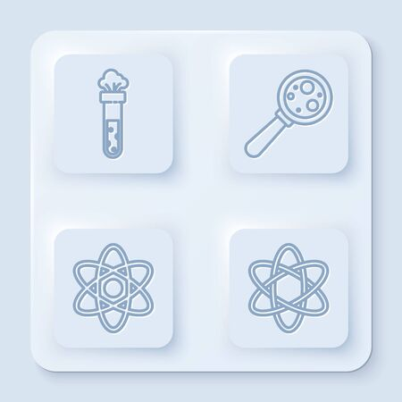 Set line Test tube and flask chemical, Microorganisms under magnifier, Atom and Atom. White square button. Vector